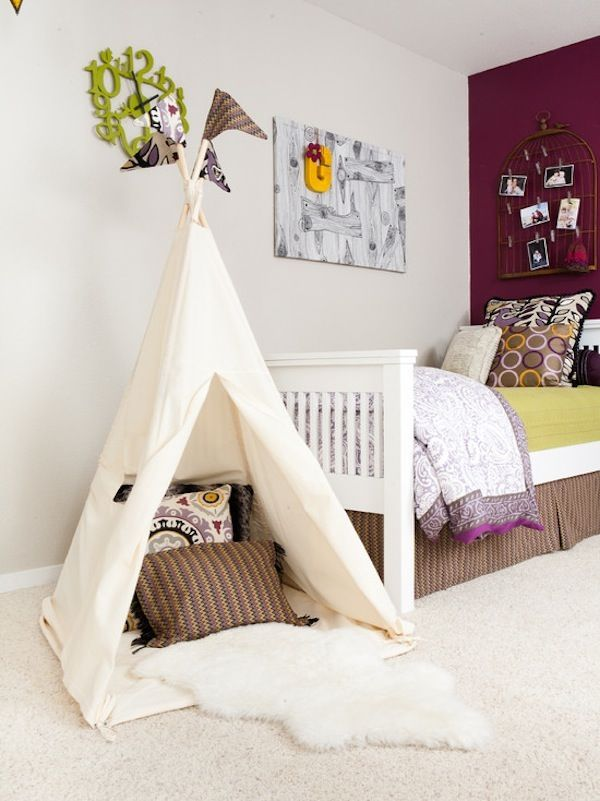 Indoor canvas tent with pillows and a $10 faux sheepskin rug from @IKEA USA. Adorable!