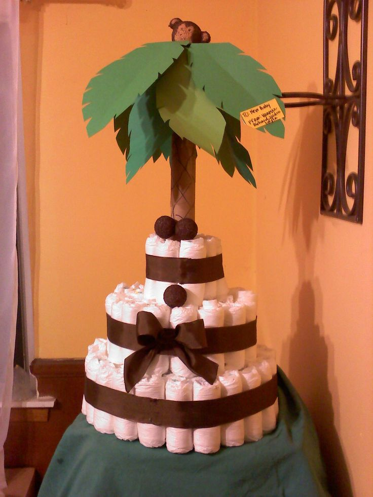 jungle theme baby shower!!  (diaper cake)