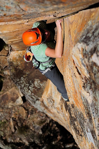 Laura on 'Rickety Kate' - A classic corner crack at Frog Buttress, Queensland, Australia