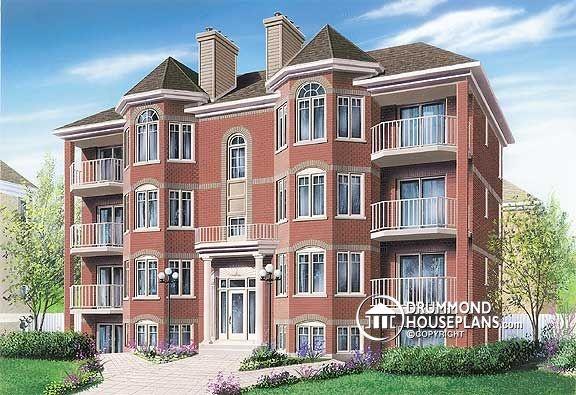 Multi family plan w3019 builder house plans multi for Multifamily house