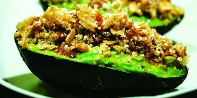 Roasted Tomatillo Guacamole with Crunchy Chicharrón Recipe