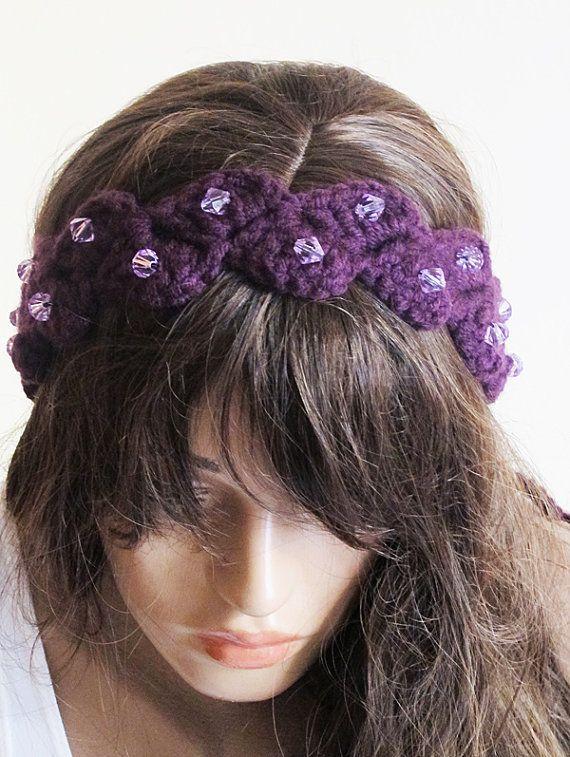 Crochet Hair Bands : crochet headband hair band purple headband Boho by selenayselenay, $27 ...