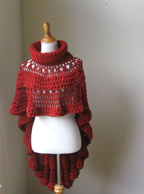 RED CAPE PONCHO Crochet, Knit, Shawl, Sweater, Turtleneck Poncho, Boh?