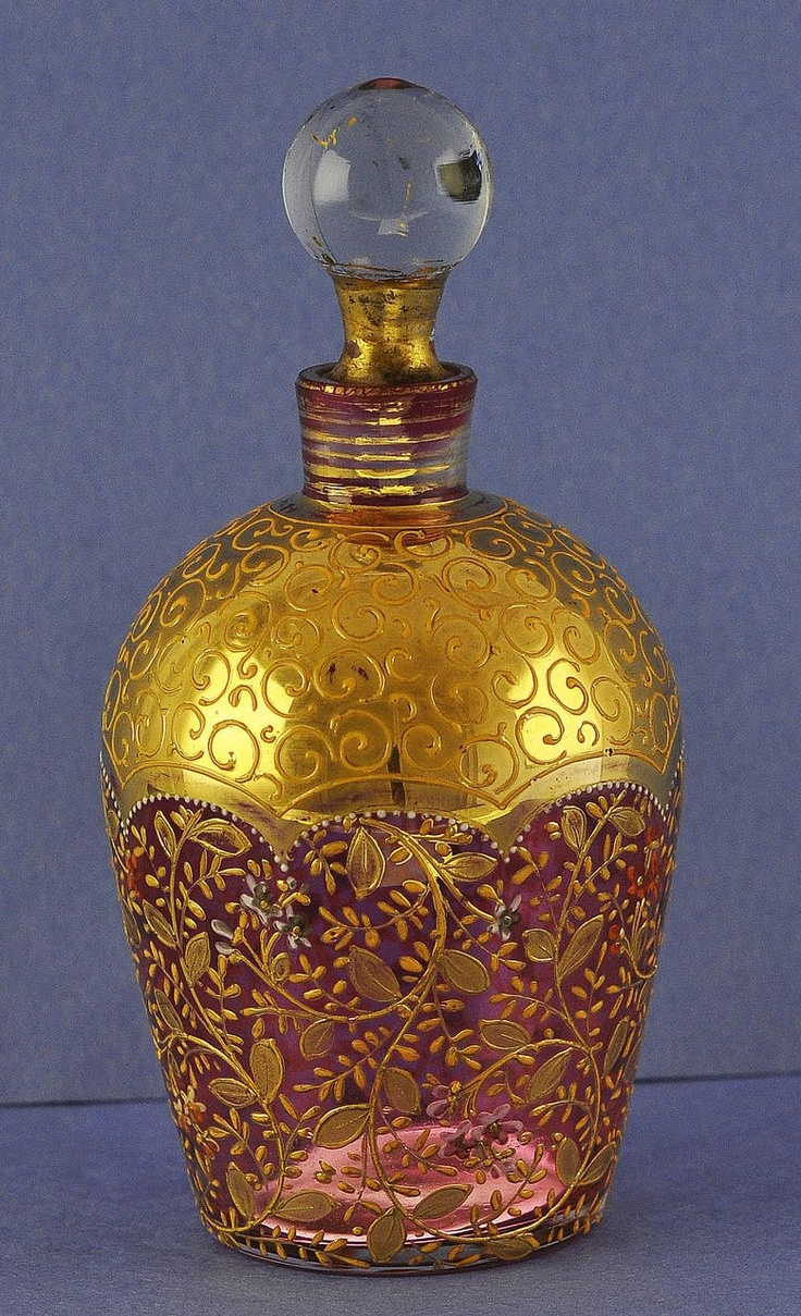 Circa 1900, Moser, Gold Decorated & Hand Painted, Cranberry Glass, Perfume / Scent Bottle