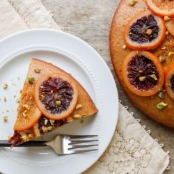 Candied blood orange olive oil cake with roasted pistachios