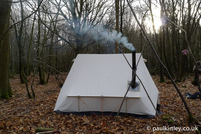 Heated Tent In Winter Forest But No Snow