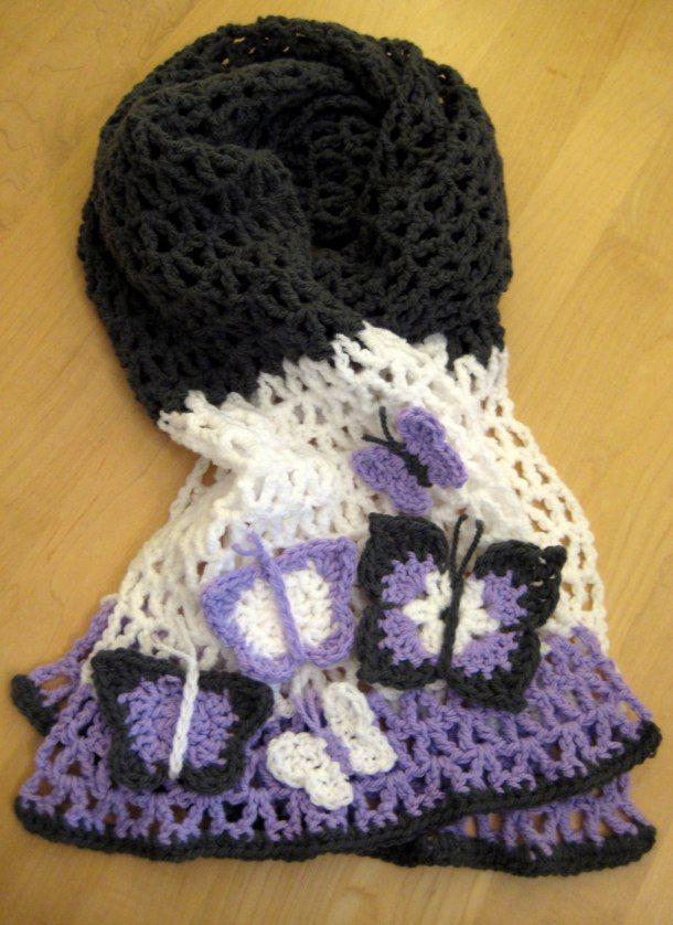 Free Crochet Pattern For Butterfly Shawl : Free Butterfly scarf crochet pattern Free Crochet Scarf ...