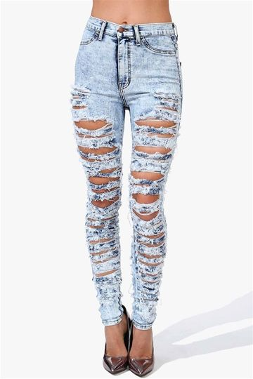 Seriously Torn Skinny Jeans in Light Blue