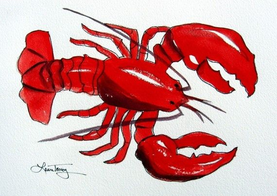 Red Lobster  Watercolor Print by lauratrevey on Etsy, $18.00