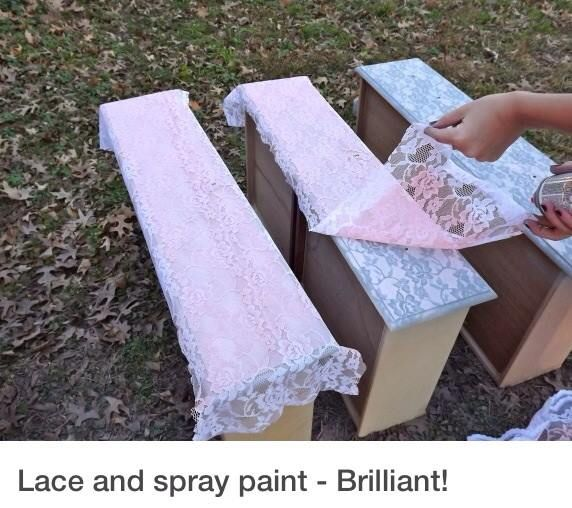 lace and spray paint over dresser nightstand drawers doors. Black Bedroom Furniture Sets. Home Design Ideas