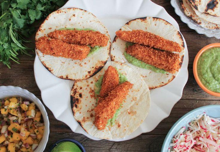 Crispy Fish Tacos with Mango Salsa and Avocado Salsa Verde. The ...