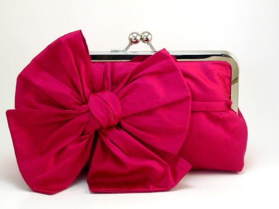 All About a Bow Clutch Purse - Fuchsia $78.00