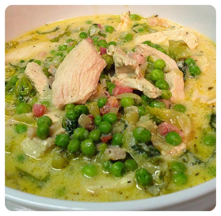 Chicken with peas + pancetta   Taste   Pinterest