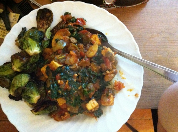 OKRA MUSHROOM KALE TOFU STEW ON QUINOA WITH ROASTED BRUSSEL SPROUTS
