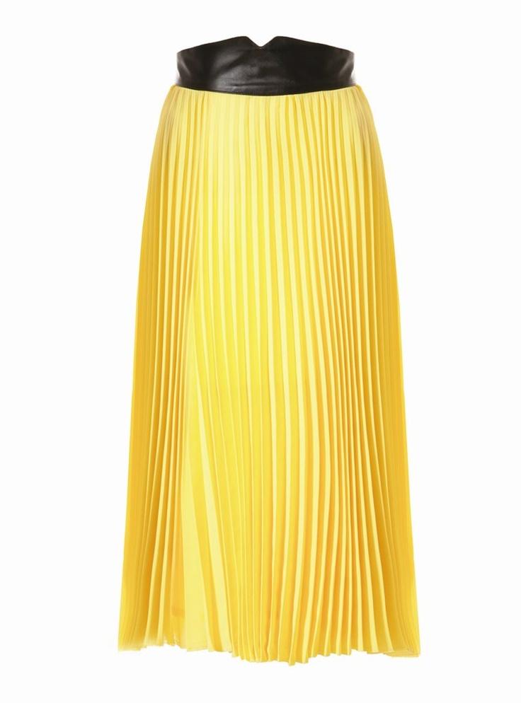 jovanna canary yellow pleated midi skirt wedding