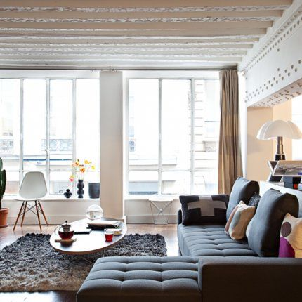 Inside a Paris apartment.  An old workshop converted into living space
