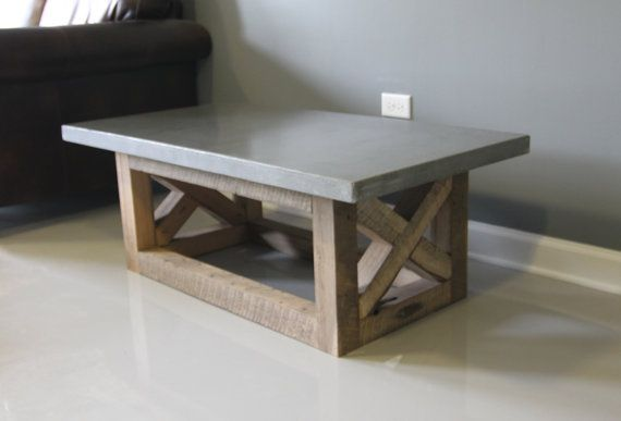 Concrete Coffee Table Reclaimed Wood Base Handmade Right