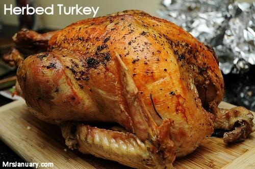 Easy Herb Roasted Turkey via MrsJanuary.com #recipe #turkey