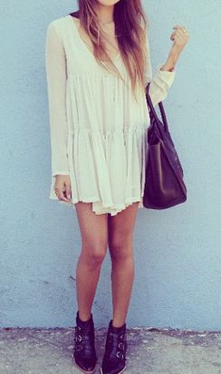 Flowy dresses + ankle boots.