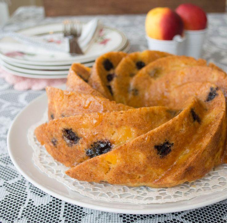 Peach Bundt Cake with blueberries, Lemon and Greek yogurt