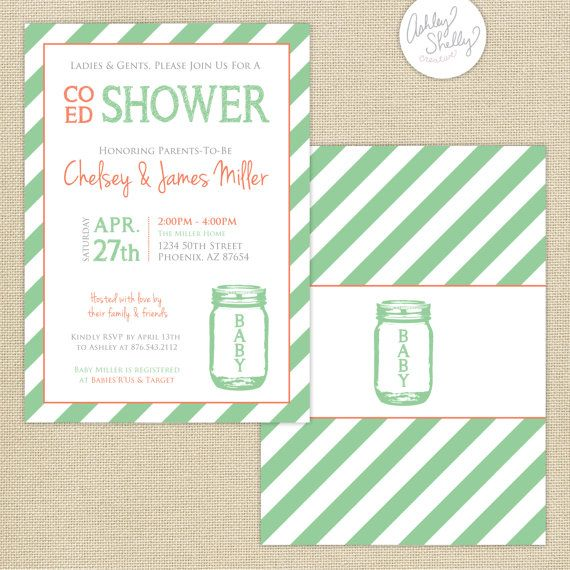 co ed baby shower mason jar and stripes invitation mint coral gray