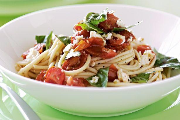Tomato, basil and feta spaghetti   Nutrition plan recipes   Pinterest
