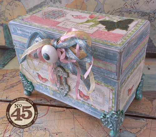 This is a beautiful Botanical Tea recipe box by the amazing Rhea Freitag #graphic45