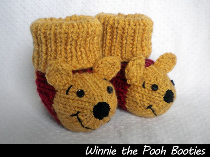 Winnie the Pooh Booties Knitting Pattern Knitted ...