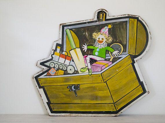 vintage children's toybox/clown timber sign by epochco on Etsy, $75.00