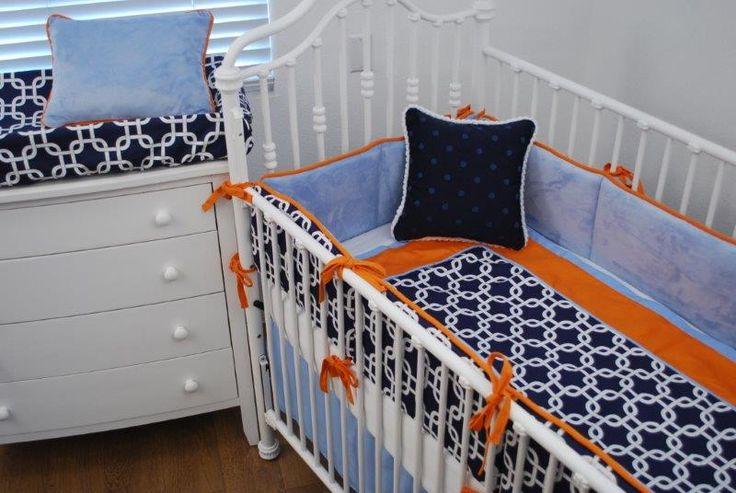 Navy orange blue crib bedding illini homes pinterest - Navy blue and orange bedding ...