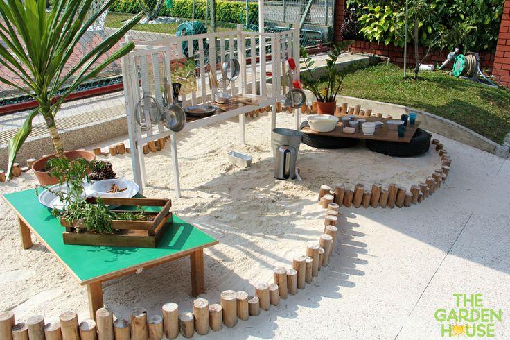 Daycare Backyard Ideas : Sandpit kitchen  mud kitchens and water walls  Pinterest