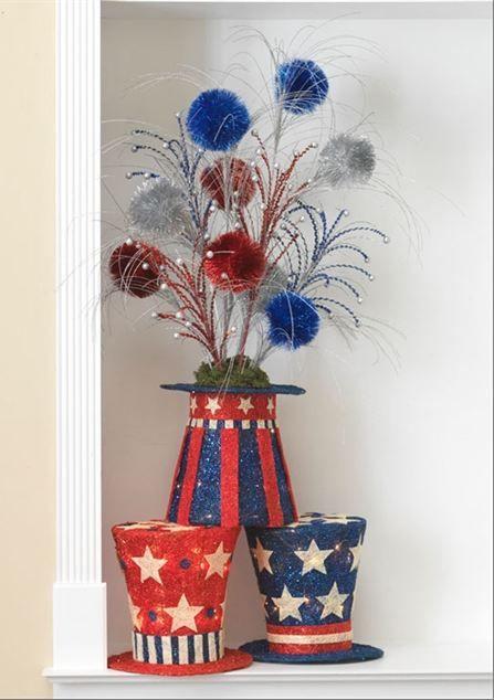 purses designer brands Patriotic Centerpiece with RAZ Uncle Sam39s Hat Red White Blue Sprays