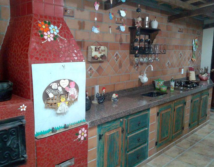 Cozinha com churrasqueira rústica