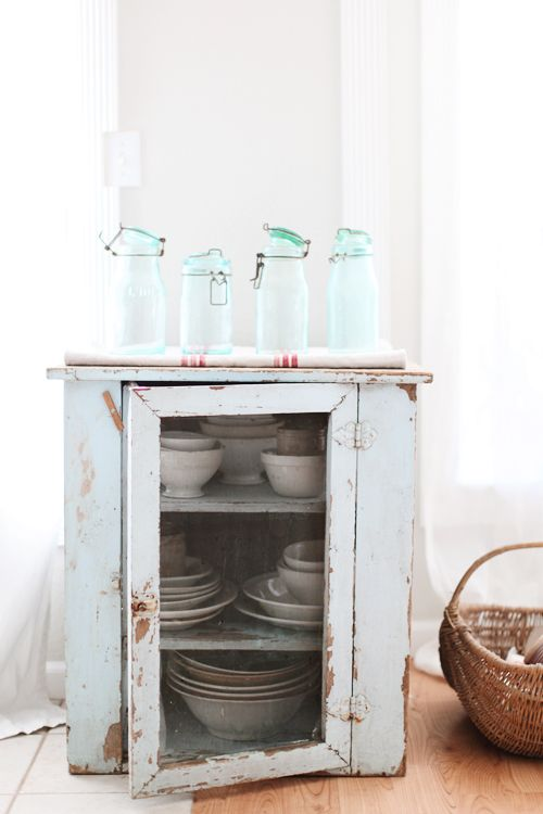Wood glass display box  curio kitchen Whitewashed Shabby chic French country rustic Swedish decor idea