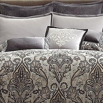 Royal velvet lourdes gray comforter set bedroom pinterest for Grey velvet comforter