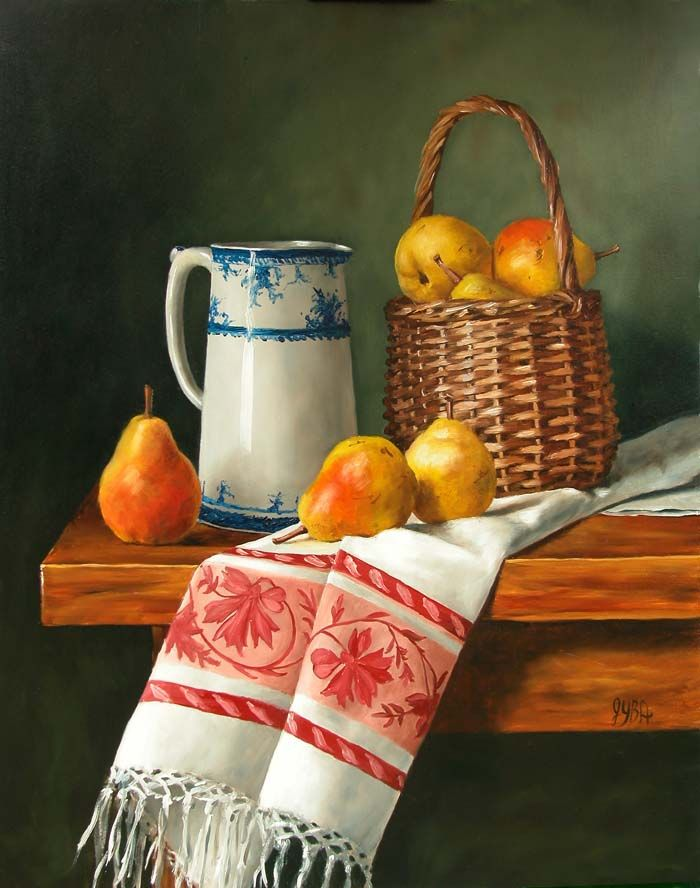 Julie Y Baker Albright (b.1958) — Basket of Pears   (700×888)