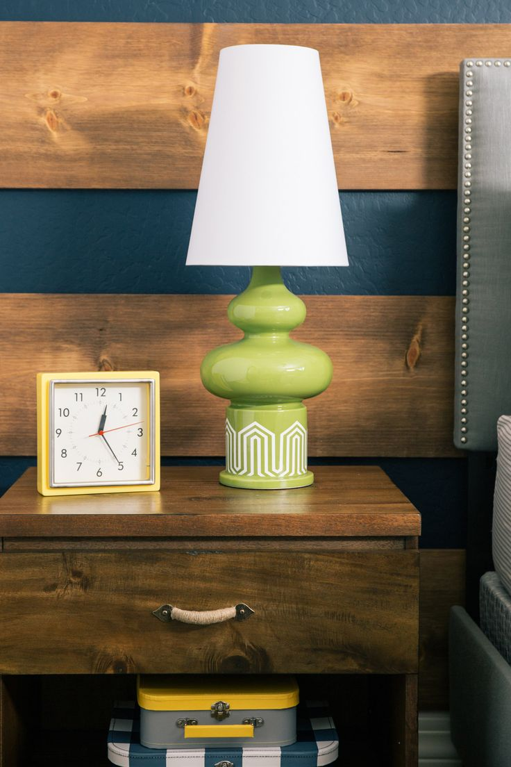 Outdoor-Inspired Big Boy Room - fun and funky green lamps!