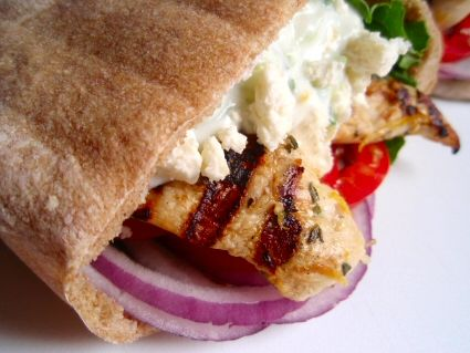 Grilled chicken souvlaki gyros - so good! You'll need at least 2 hot ...