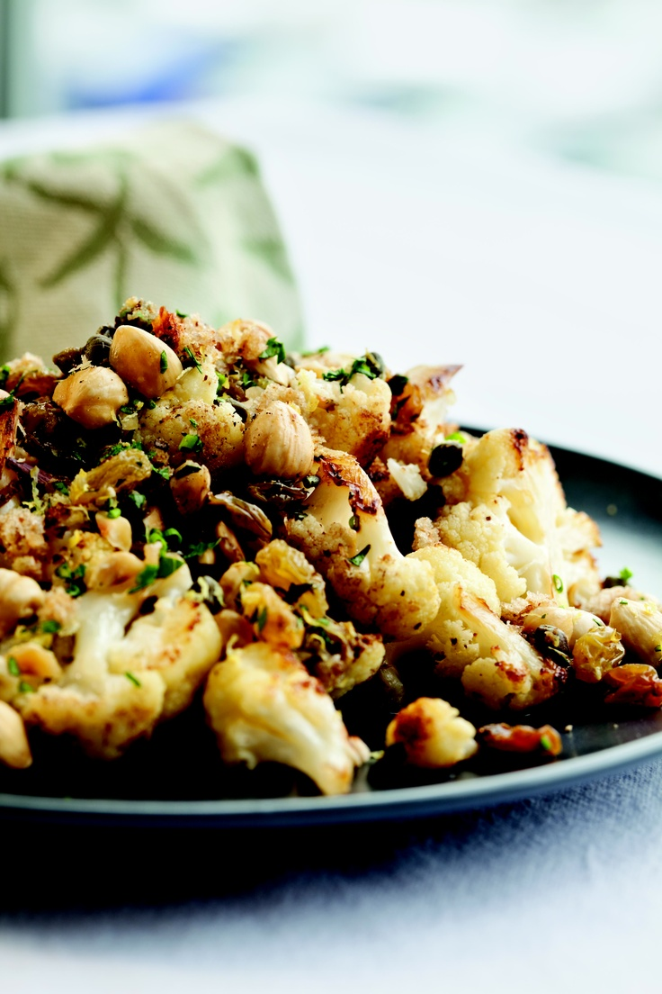 Roasted Cauliflower with Hazelnuts, Raisins, and Capers