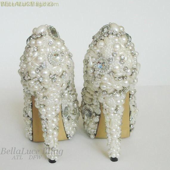 BRIDAL WEDDING RHINESTONE CRYSTAL PEARL SHOES size 5 thru 11 HEELS