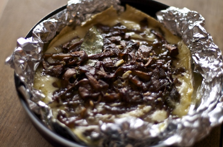 Baked Brie topped with Wild Mushrooms and Caramelized Onions