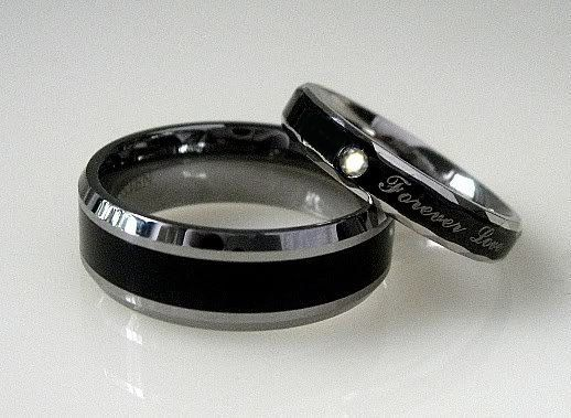 Black Wedding Rings For Him Pc Black TITANIUM And Stainless Steel Wedding By WeddingRingSets