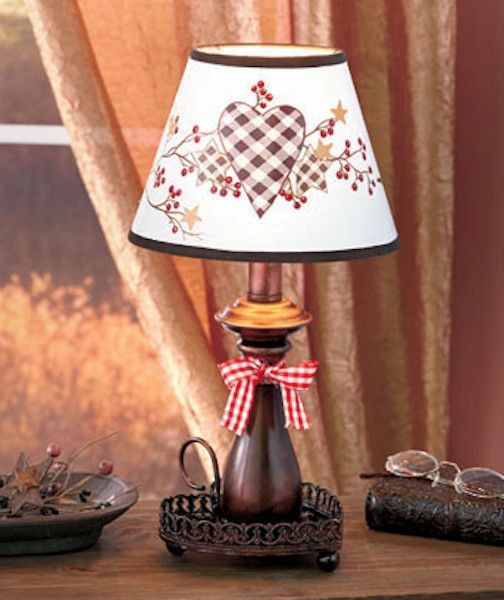 Country table lamp hearts stars rustic light lighting for Bed lamp decoration