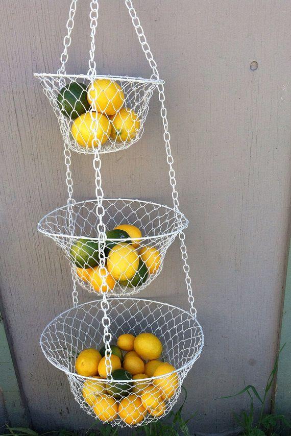 Metal Wire Hanging Basket Ivory Mesh Hanging Baskets Kitchen Bath