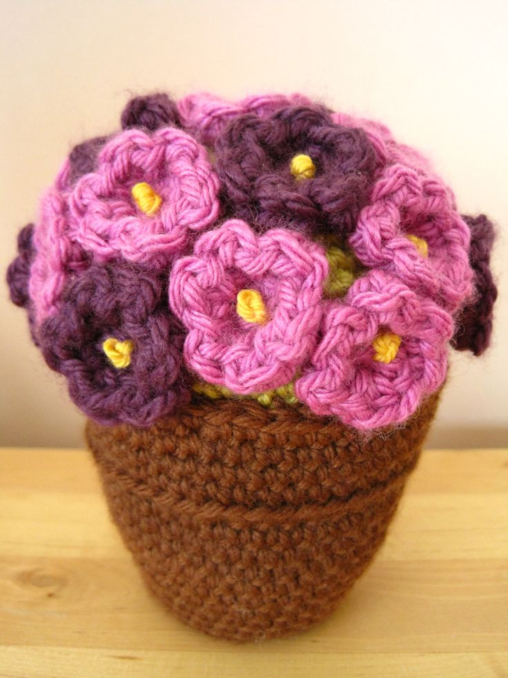 cute flower pot PUNTO Y CROCHET Pinterest
