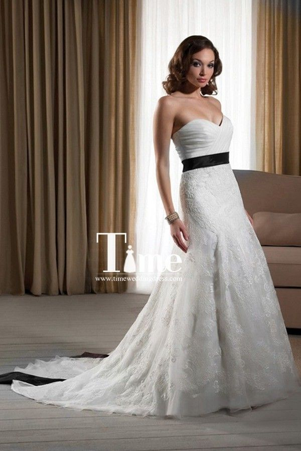 Sweetheart Lace Black And White Wedding Dresses Bridal Gowns WD148267