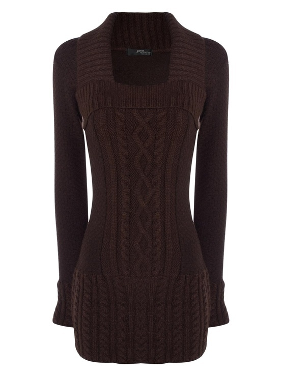 chocolate square neck cable front jumper