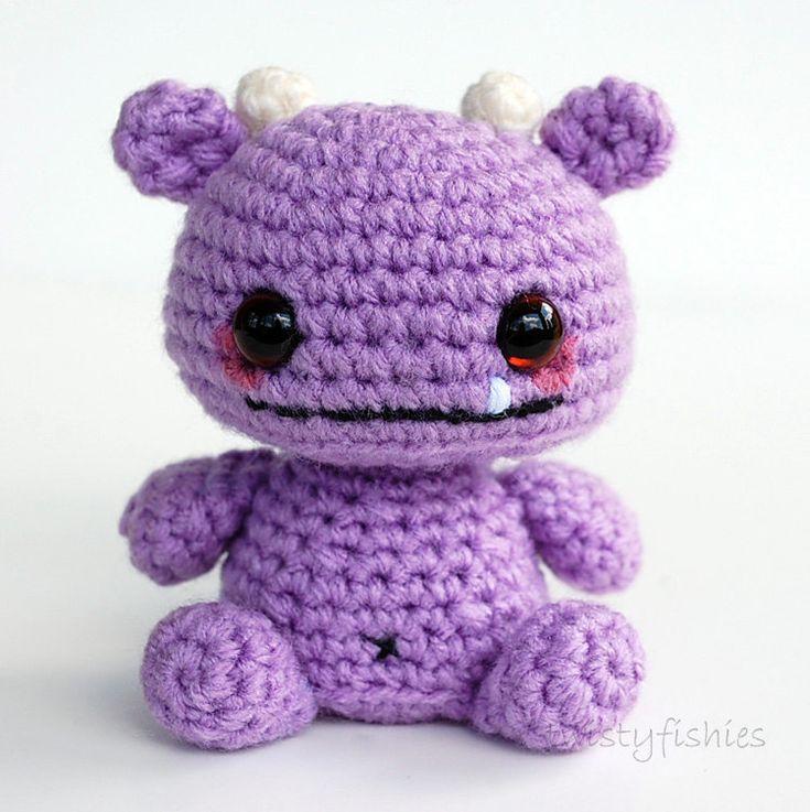 Amigurumi Baby Monsters : RESERVED Listing - Baby Monster Amigurumi - Purple