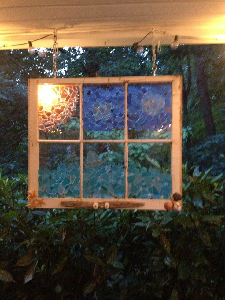 how to make sea glass window panes