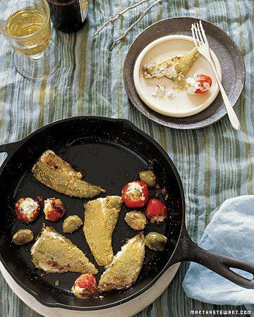 Pan-Fried Olives and Chiles Stuffed with Goat Cheese from Martha ...